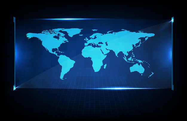 Abstract background of digital futuristic halgram hud interface display of world maps earth