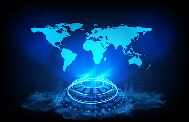 Abstract background of digital futuristic hologram hud interface display of world maps earth