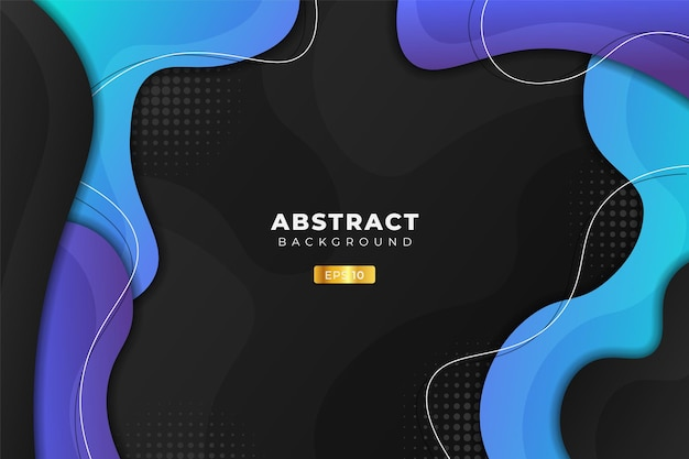 Abstract background dynamic fluid shape blue and purple in dark Premium Vector