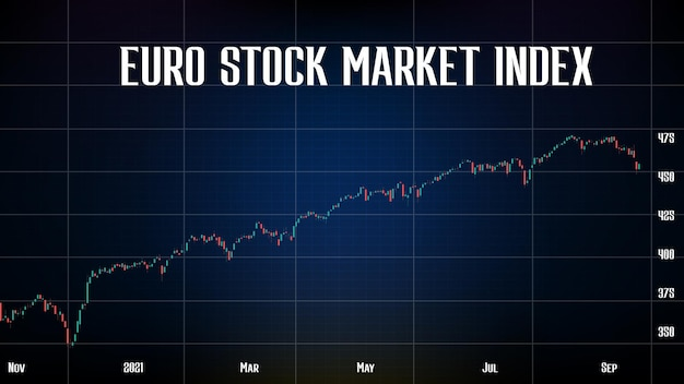 Abstract background of euro stock market index red and green indicator candle graph