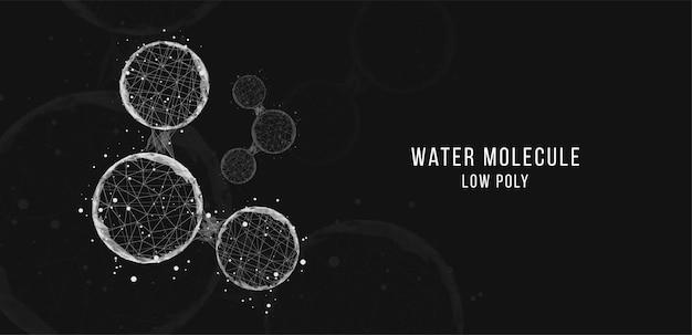 물 분자에서 추상적인 배경입니다. 낮은 폴리 와이어프레임 스타일.