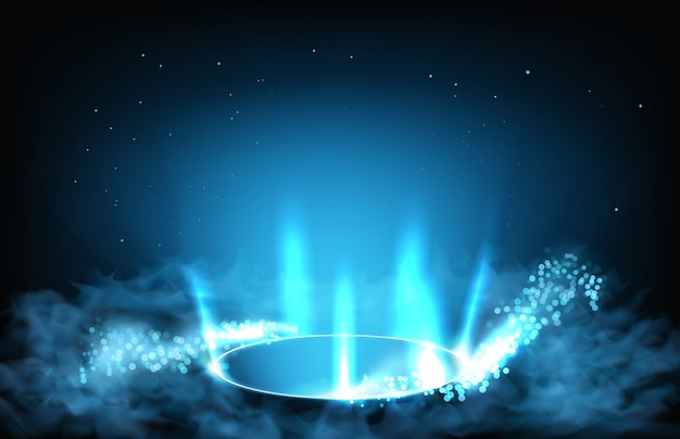 Abstract background of futuristic hud gui display panel tube from hole and smoke