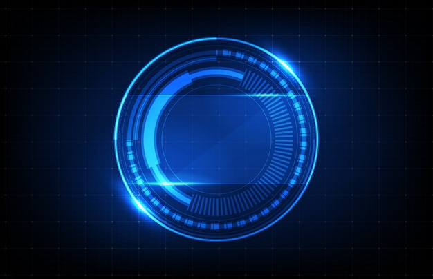 Abstract background of futuristic technology blue round glowing hud ui background