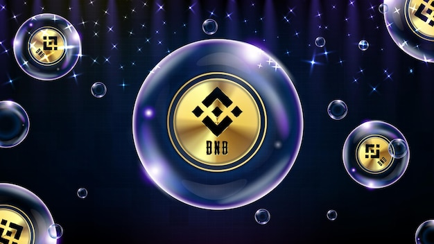 Abstract background of futuristic technology bubble glowing cryptocurrency bnb binance