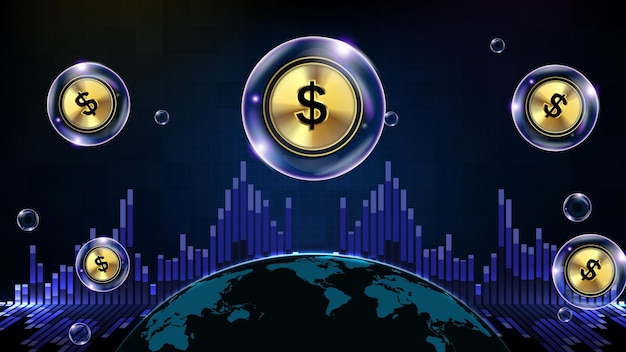 Abstract background of futuristic technology bubble glowing dollar sign and world map