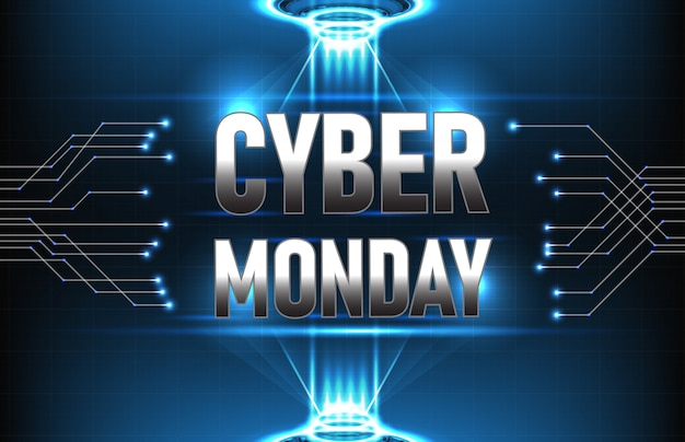 Abstract background futuristic technology of cyber monday with connection line and hud