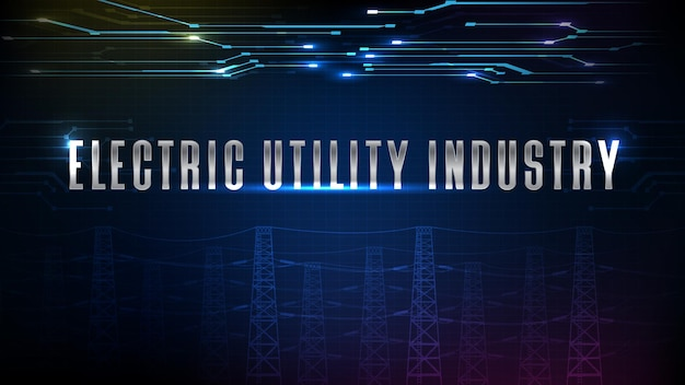 Abstract background of futuristic technology electric power industry with high voltage pole background