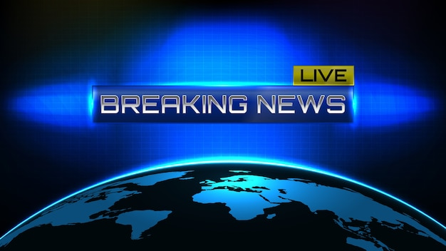 Abstract background futuristic technology of emergency breaking news banner template text concept with world map