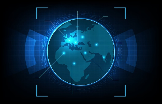 Abstract background of futuristic technology glowing digital globe world maps with, hightech screen concept