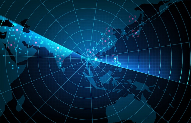 Abstract background of futuristic technology scan target interface hud asia pacific maps,hightech screen concept