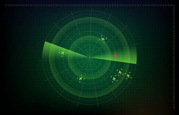 Abstract background of futuristic technology screen scan flight radar airplane route path and red plane intruder