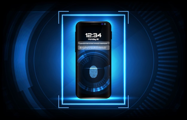 Abstract background of futuristic technology user interface screen hud with fingerprint login system on smart mobile phone