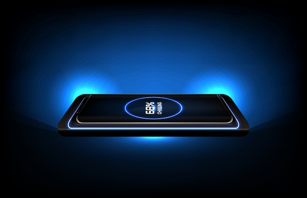 Abstract background of futuristic technology wireless fast charge stand on smart mobile phone