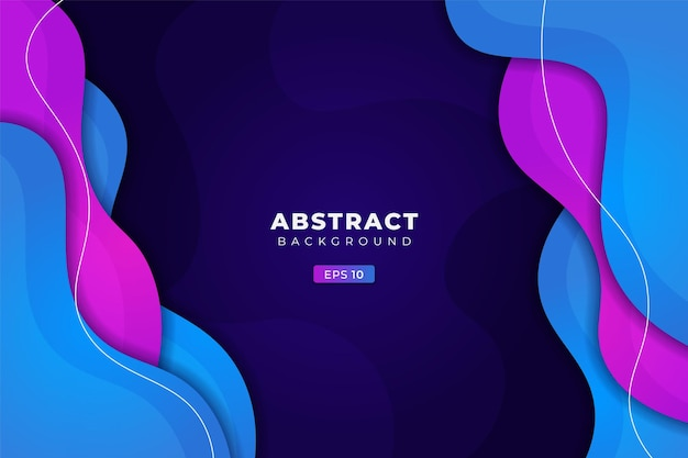 Abstract background geometric colorful dynamic fluid gradient blue and purple premium banner vector