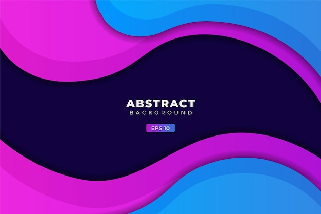 Abstract background geometric colorful dynamic overlapped fluid gradient blue and purple premium banner vector
