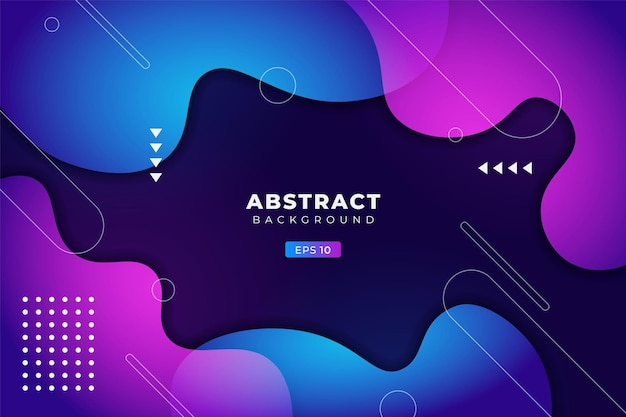 Abstract background geometric colorful fluid gradient blue and purple premium banner vector