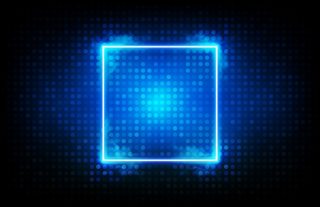 Abstract background of glowing blue square neon frame