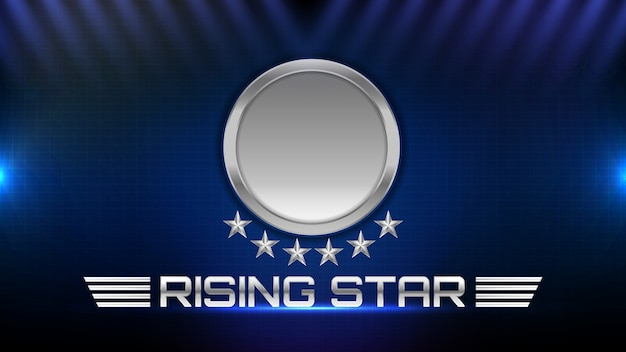 Abstract background of glowing metal star and rising star sign text