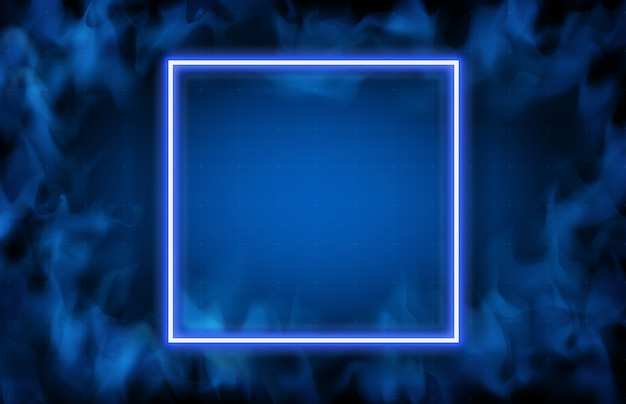 Abstract background of glowing neon frame and smoke