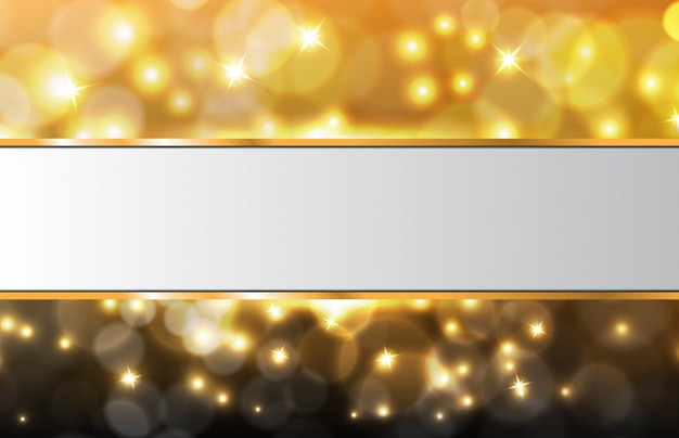 Abstract background of glowing particle gold bokeh with white frame