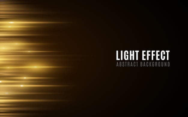Abstract background of golden glowing lines. light effect. futuristic blurred neon lines on dark background.