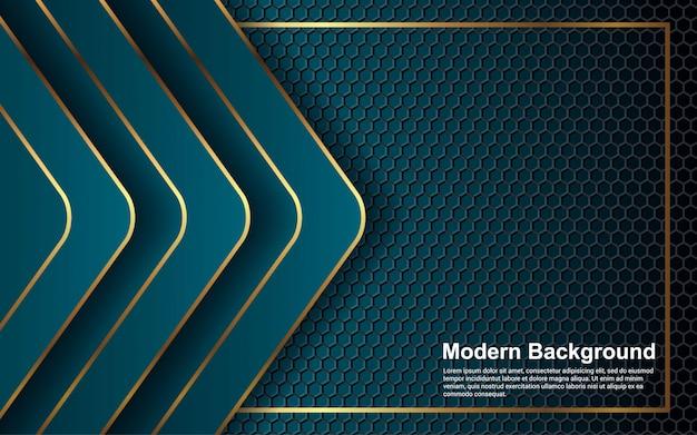 Абстрактный фон золотая линия на синем цвете современного