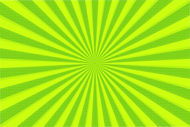 Abstract background of green and yellow rays