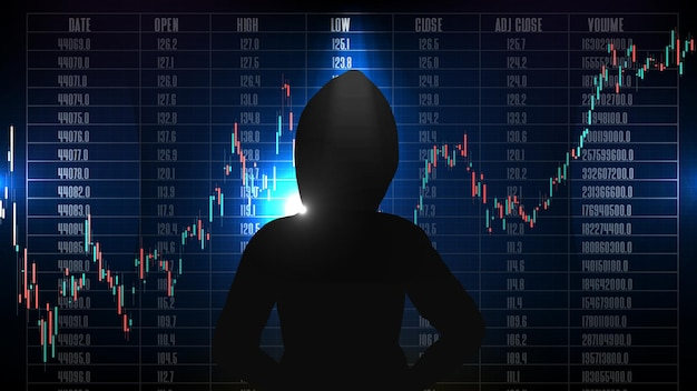 Abstract background of hacker in hood with stock market candle stick graph chart