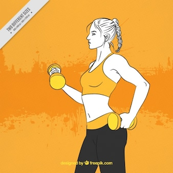 Abstract background of hand drawn woman with dumbbells