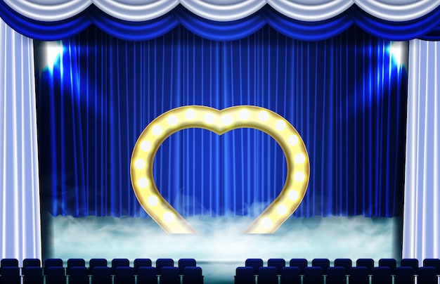 Abstract background of heart symbol on stage and seat