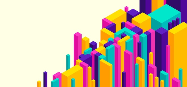 Абстрактный фон в красочном изометрическом стиле