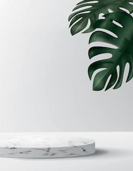 大理石のプラットフォームと最小限のスタイルで抽象的な背景。空の円筒形のリアルな表彰台