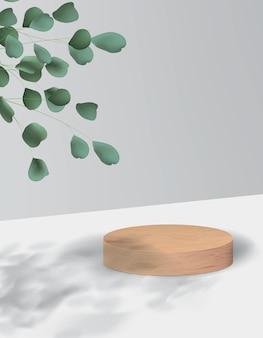 木製のプラットフォームとミニマルなスタイルの抽象的な背景。植物を使った製品デモンストレーションのための空の現実的な表彰台