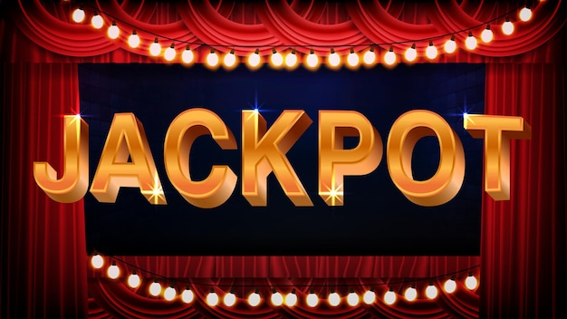 Abstract background of jackpot text sign with light bulbs and red stage