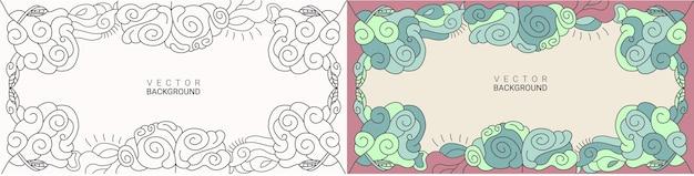 추상적인 배경 라인 아트 및 색상 손으로 그린