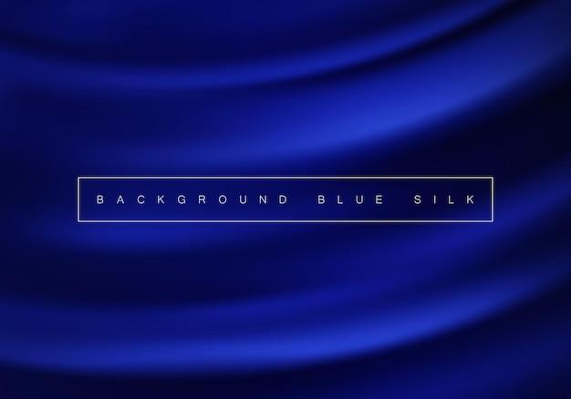 Абстрактный фон роскошный синий ткань волна текстура шелк