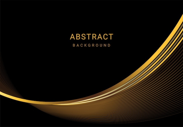 Abstract background of luxury gold wave lines