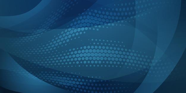 파란색의 하프톤 도트와 곡선으로 만들어진 추상 배경