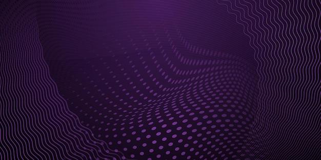 어두운 보라색 색상의 하프톤 도트와 곡선으로 만들어진 추상 배경