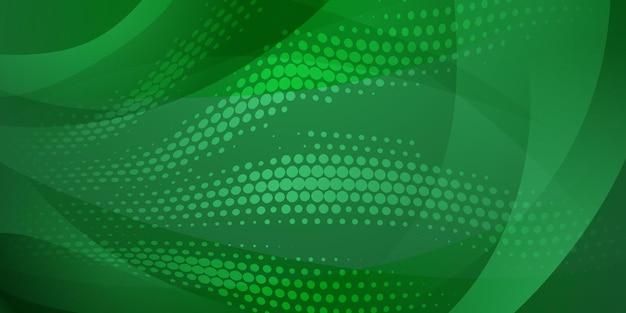 녹색 색상의 하프톤 도트와 곡선으로 만들어진 추상 배경