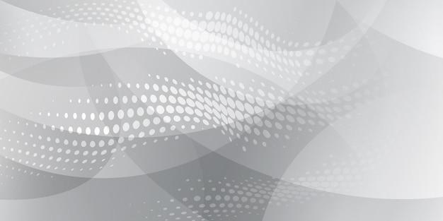 흰색과 회색 색상의 하프톤 도트와 곡선으로 구성된 추상 배경