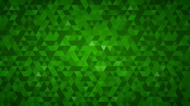 小さな緑の三角形で作られた抽象的な背景