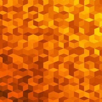 小さなオレンジ色の立方体で作られた抽象的な背景