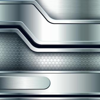 Абстрактный фон, металлические серебряные баннеры. векторная иллюстрация