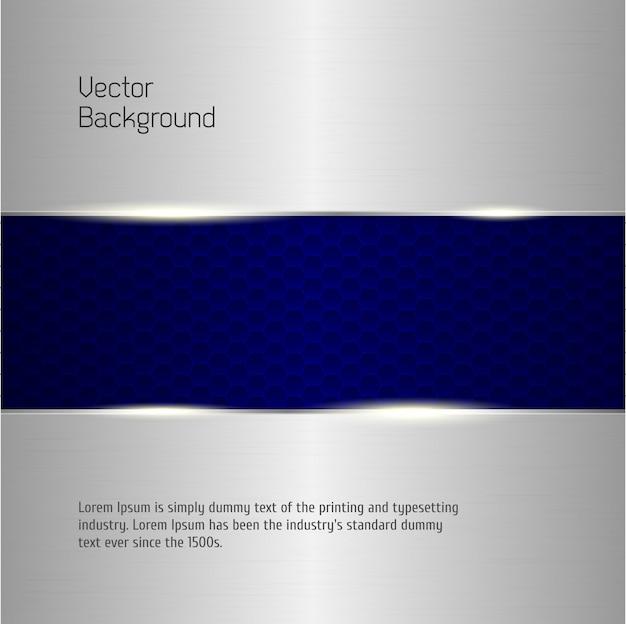 抽象的な背景、金属銀のバナー、ベクトル
