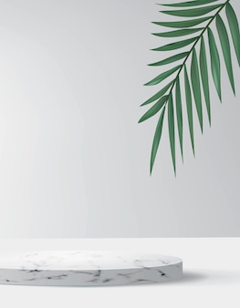 Abstract background in minimal style with marble platform. empty realistic podium for cosmetic product showcase with palm tree