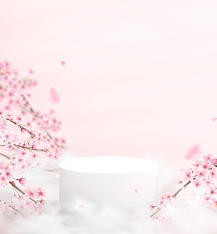 Abstract background in a minimalistic style with a podium in pink colors. empty pedestal for product display with cherry blossoms and petals.