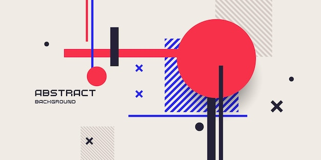 Abstract background in a modern trendy style poster with simple flat geometric shapes