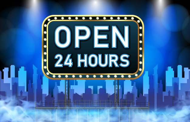 Abstract background of neon open 24 hours sign