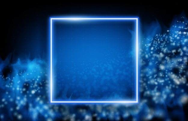 Abstract background of neon square frame with glowing stream data and smoke